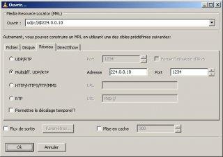 Utiliser l'adresse IP multicast configuré sur le serveur.